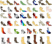 Vector of 48 patterned shoes Shoe Silhouettes 3