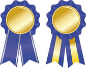 Two blue award ribbons