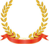 Laurel wreath and ribbon