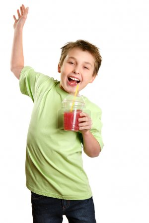 Jumping child healthy fruit juice
