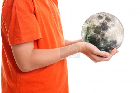 Hands cupping holding our moon