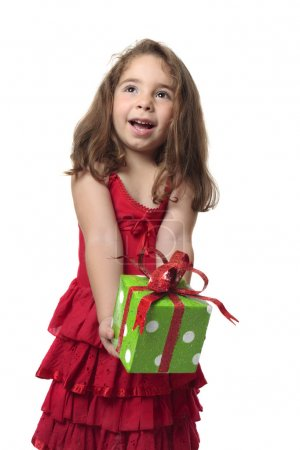 Happy girl holding gift