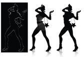 Vector silhouette set of fashion model posing all layers separated