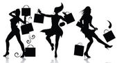 Vector silhouettes of shopping girls