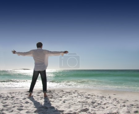 Photo for Rear view of man with open arms facing the sea - Royalty Free Image
