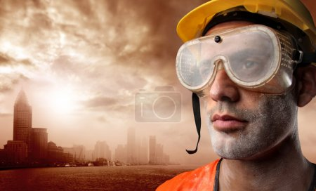 Photo for Portrait of a worker and a city - Royalty Free Image