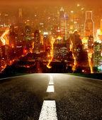 """Постер, картина, фотообои """"ночная городская улица"""""""