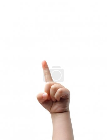 Photo for Child's hand pointing at a high point - Royalty Free Image
