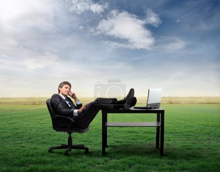 Photo for Businessman sitting in front of a laptop on a green meadow - Royalty Free Image