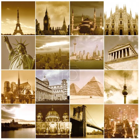 Photo for Composition of different views of landmarks from all over the world - Royalty Free Image