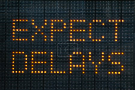 Photo for Urban traffic congestion sign saying Expect Delays - Royalty Free Image