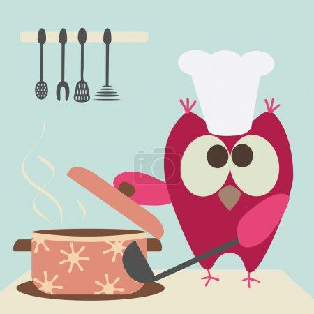 Illustration pour Chouette hibou avec une bawl cuisson dans la cuisine - image libre de droit