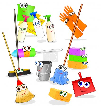 Illustration for Vector illustration depicting various tools and accessories for cleaning, with happy smiling faces - Royalty Free Image