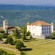 Church and chateau in Aiguines, Var Departement, P...