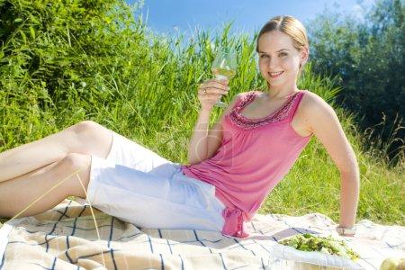 Photo pour Femme à un pique-nique - image libre de droit