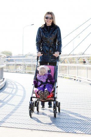 Woman with toddler on walk