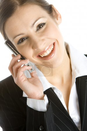 Foto de Retrato de la mujer de negocios que llama por teléfono - Imagen libre de derechos