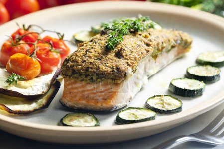 Photo for Baked salmon with herbs eschar - Royalty Free Image