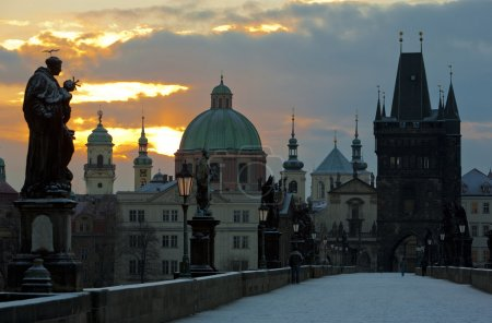 Photo for Charles Bridge in winter, Prague, Czech Republic - Royalty Free Image