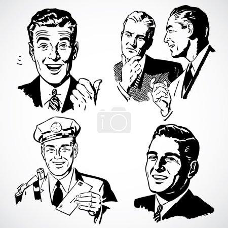 Photo pour Illustrations de publicité vintage d'hommes d'affaires heureux. - image libre de droit