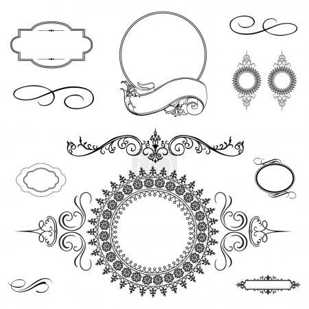 Foto de Conjunto de ornamento y marco de remolino, aislado sobre fondo blanco - Imagen libre de derechos
