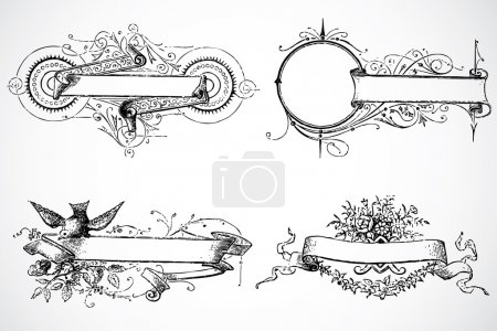 Photo for Decorative frame set, with seamless background pattern - Royalty Free Image