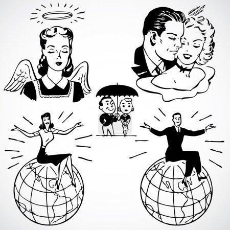 Photo pour Femmes et les hommes d'illustrations publicitaires vintage. - image libre de droit