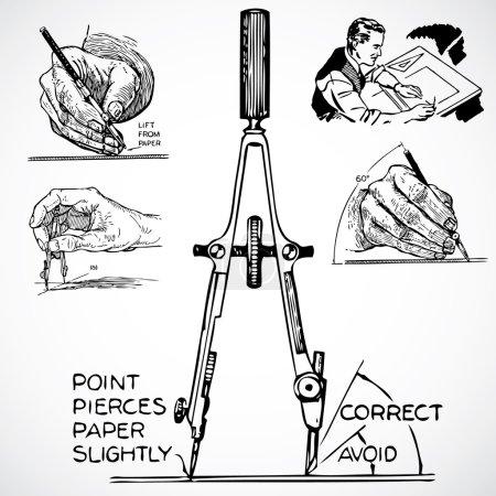 Photo pour Illustrations publicitaires vintage d'instruments de dessin . - image libre de droit
