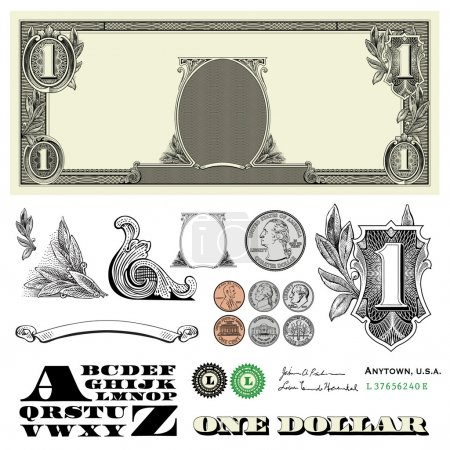 one dollar bill and coins