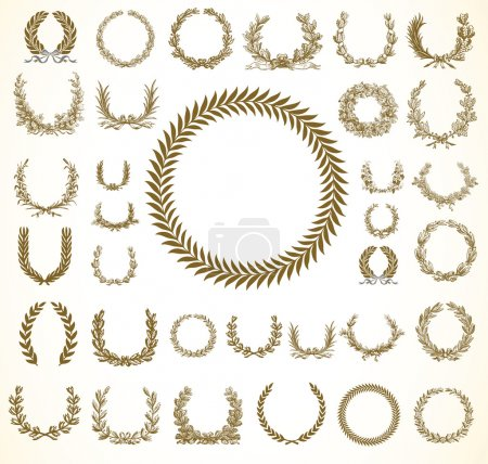 Photo for Set of detailed victory laurel wreaths. Easy to edit and change colors. - Royalty Free Image