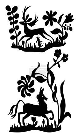 Photo pour L'art du cheval et le cerf. Facile à changer de couleur . - image libre de droit