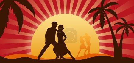 Photo pour Silhouettes de danseurs sur un fond d'un coucher de soleil - image libre de droit