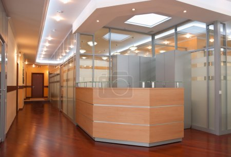 Photo for Modern office interior - reception and perspective of corridor - Royalty Free Image