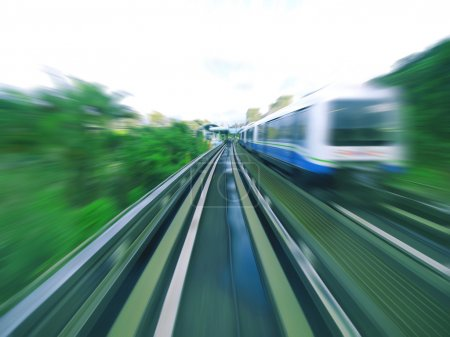 Photo for Mass rapid transit moving on railway - Royalty Free Image