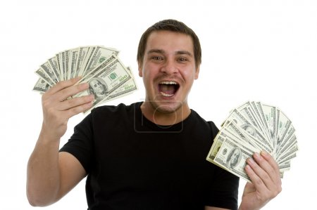 Man happy with lots of money