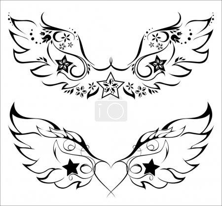Illustration pour Tatto - ailes avec motif floral et étoiles - image libre de droit