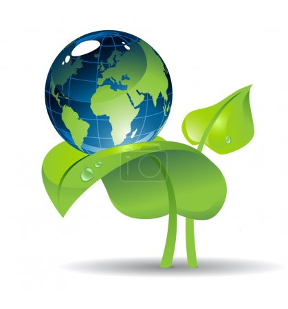 Illustration for Shiny Eath globe on the plant with two leaves - Royalty Free Image