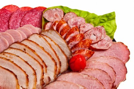 Photo for Dish with sliced ham, salami, sausage and more tasty meat isolated over white background. - Royalty Free Image