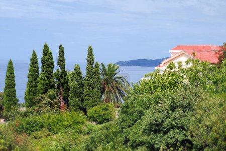 Photo pour Maison avec toit carrelé rouge en montenegro - image libre de droit
