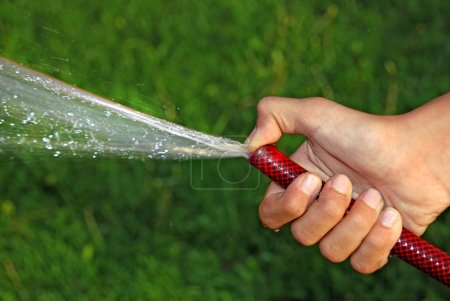 Child hand keeping water hose over green grass...