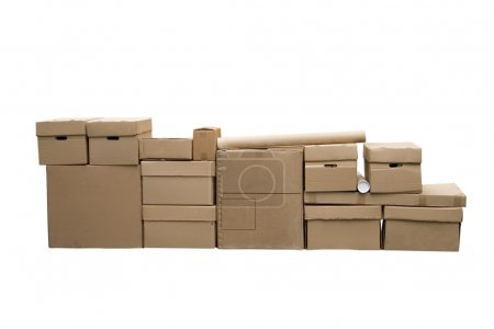 Brown different cardboard boxes