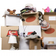 Transport cardboard boxes with books and clothes, ...