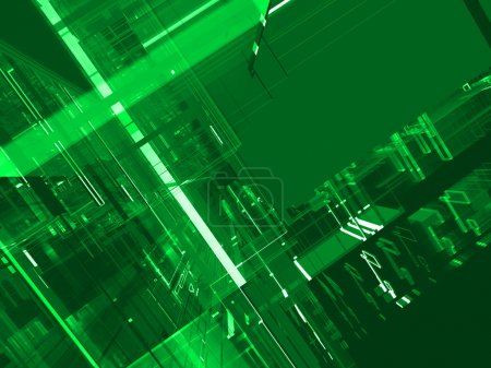 Abstract green matrix luminous background