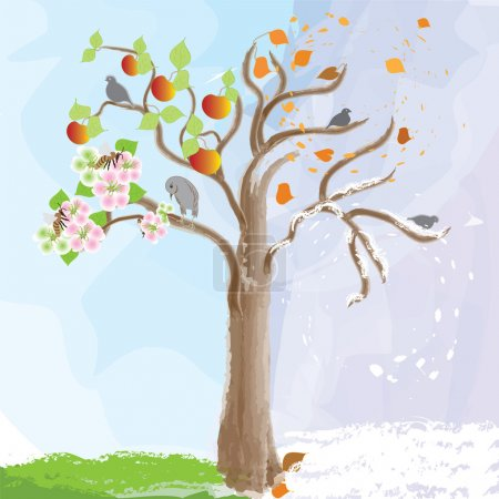 Abstract apple tree as symbol of seasonal changes