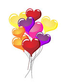 Vector illustration of many colorful heart balloons