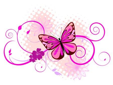 Illustration pour Illustration d'un papillon coloré sur fond floral - image libre de droit