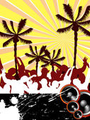 Illustration of dancing silhouette on an abstract beach background