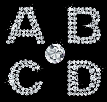 Set of diamond alphabetic letters . Vector