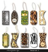 Set of tags with a different structure of animals