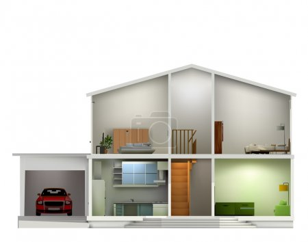 House cut with interiors. Vector illustration